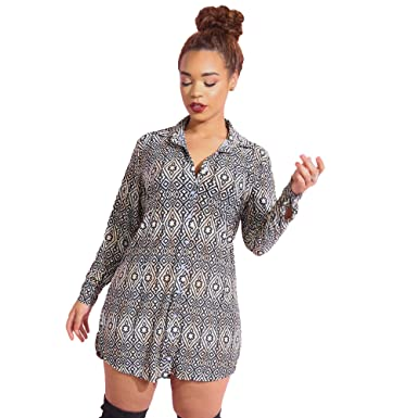 4b207cffbd99 Rebdolls Women's Casual Button Down Relaxed Fit Long Sleeve Mini Dress -  Plus Size at Amazon Women's Clothing store: