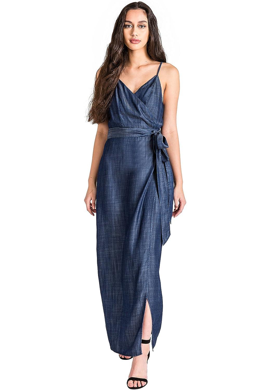 cca68fe9024 Standards   Practices Modern Womens Tencel Denim Spaghetti Strap Maxi Wrap  Dress at Amazon Women s Clothing store