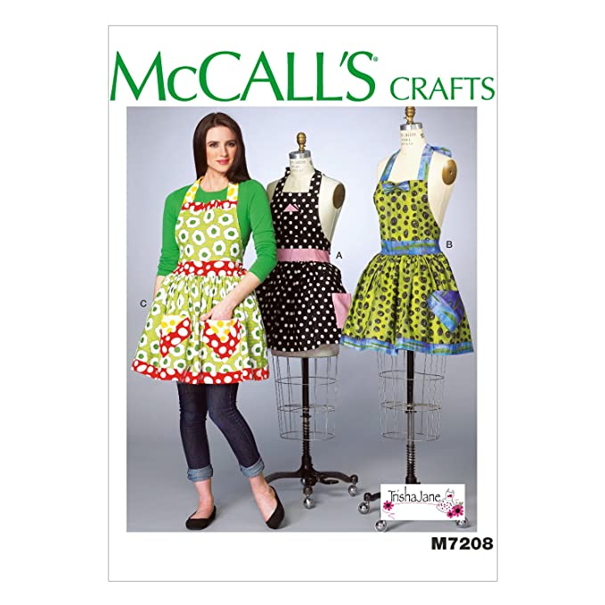 Vintage Aprons, Retro Aprons, Old Fashioned Aprons & Patterns McCalls Patterns M7208 Misses Aprons and Petticoat Sewing Template Miss (XSM-SML-MED-LRG-XLG) $8.72 AT vintagedancer.com