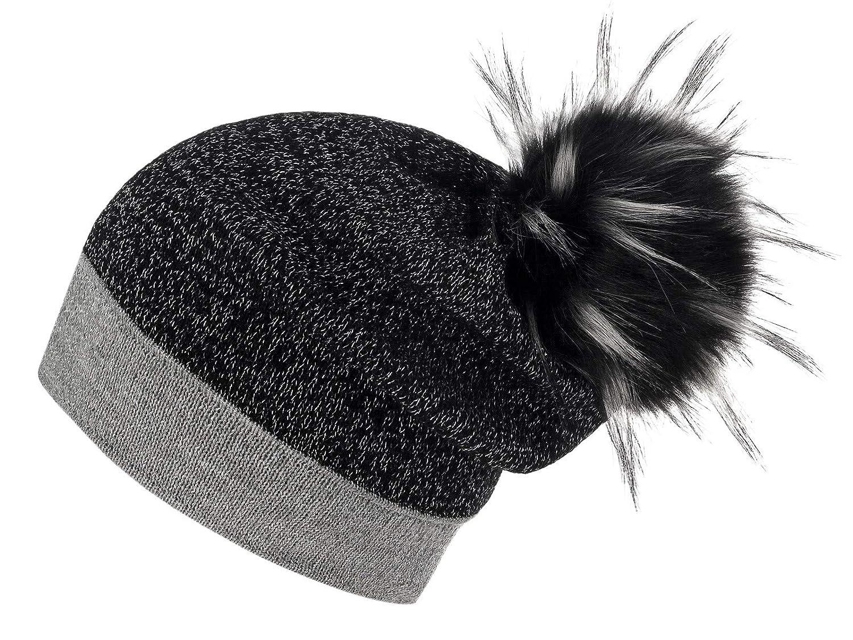 Grey Black Black with White Raccoon Dog Futrzane Women's Slouchy Beanie Hat with a Faux Fur Pom Pom