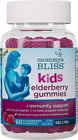 Mommy's Bliss Kids Elderberry Gummies, Promotes Immunity Support with Black Elderberry, Zinc & Vitamin C, Age 2 Years+, 60 Gummies