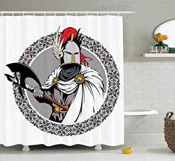 Medieval Decor Shower Curtain Set Illustration Of The Knight With Traditional Costume And Ancient