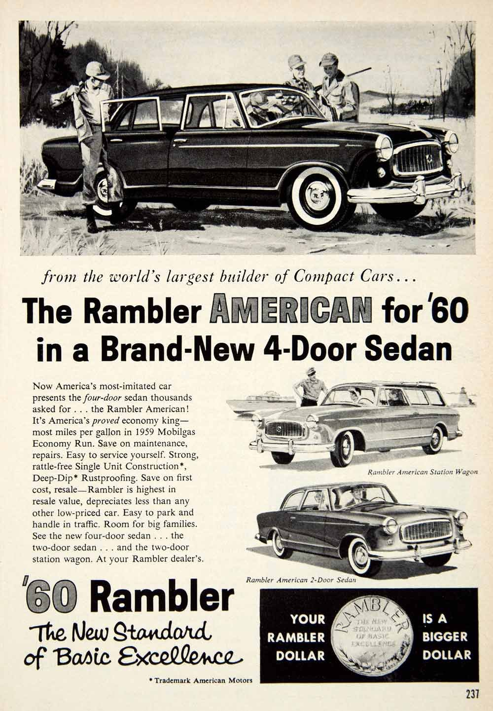 Amazon.com: 1959 Ad 1960 Rambler American 4 Door Sedan Classic Car ...