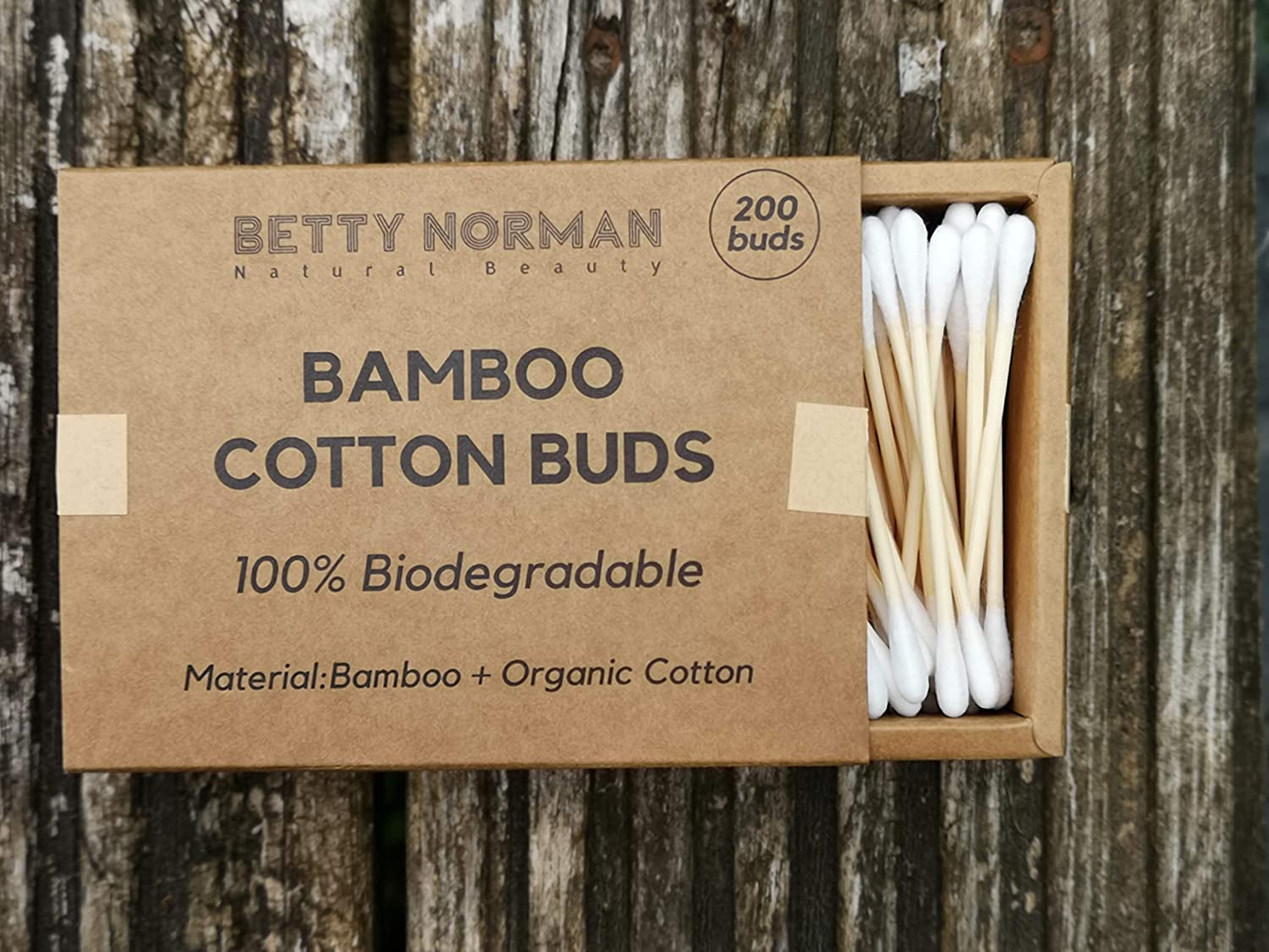 Bamboo Cotton Buds | 100% Natural | Eco-Friendly & Biodegradable | (200) by Betty Norman (Pack of 1)