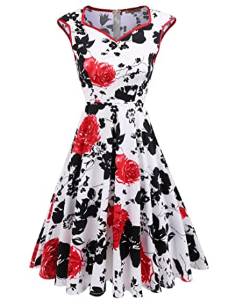 769ee82d556 ACEVOG Women s Vintage Style Sleeveless Floral Print V Neck Party Evening  Cocktail Dress