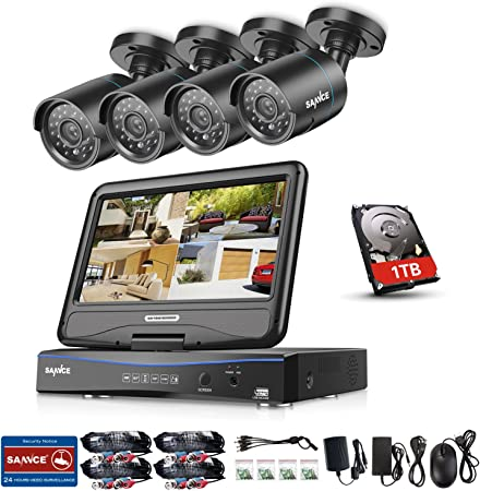 SANNCE 4CH 1080N DVR 4 Indoor Outdoor Security Camera System IR Motion Detection