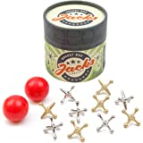 Jacks Game: Retro, New Vintage, Classic Game of Jacks, Gold and Silver Toned Jacks, Two Red Bouncy Balls and Set of Instructions, Fun for Kids and Adults of All Ages. by Rocket Box