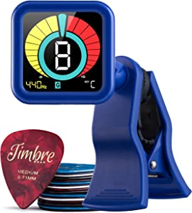 TimbreGear Clip-On Chromatic Guitar Tuner (The Blues) with FREE 20 PACK AWESOME GUITAR PICKS! For Guitar, Bass Guitar, Acoustic Guitar, Electric Guitar, Ukulele, Violin
