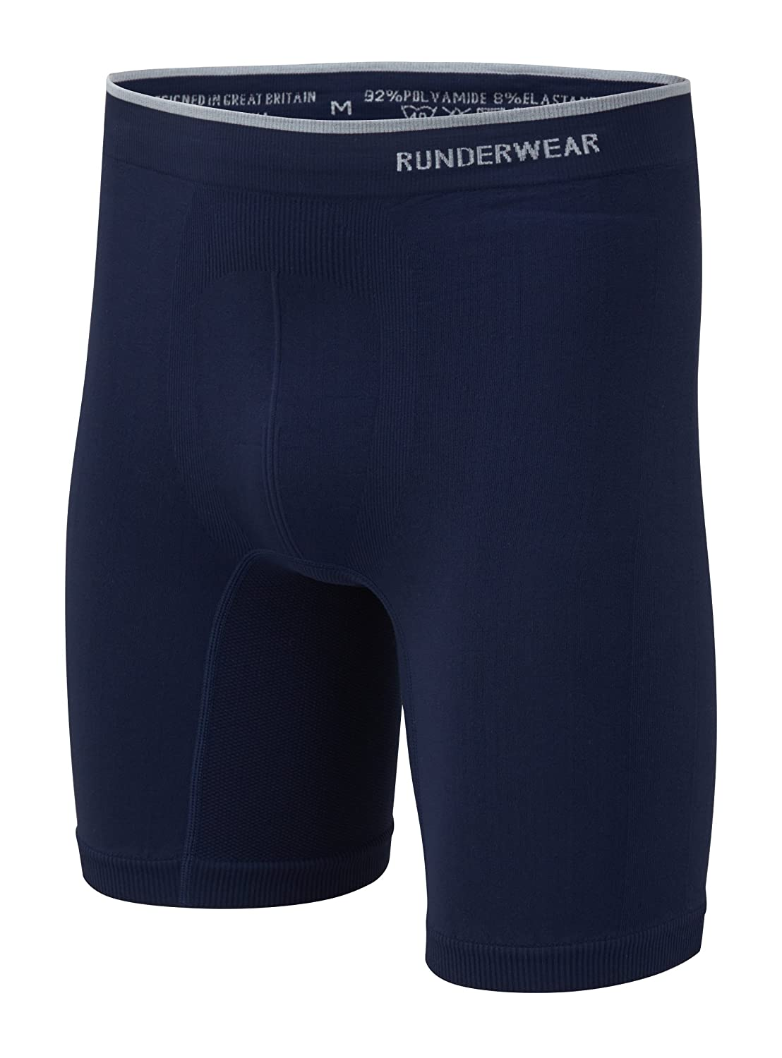 Runderwear Men's Long Boxer Shorts   Chafe-Free Performance Underwear with Seamless Technology