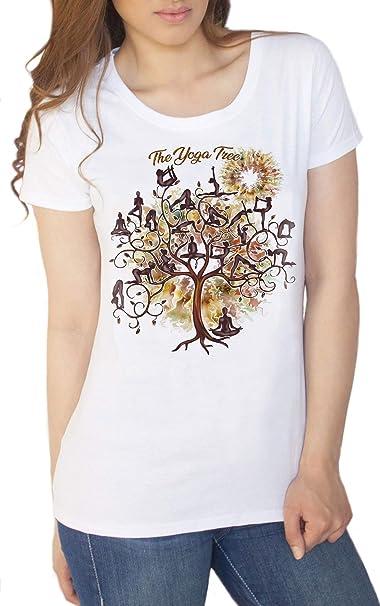 Camiseta para Mujer Yoga Meditación Poses Yoga Tree Print ...