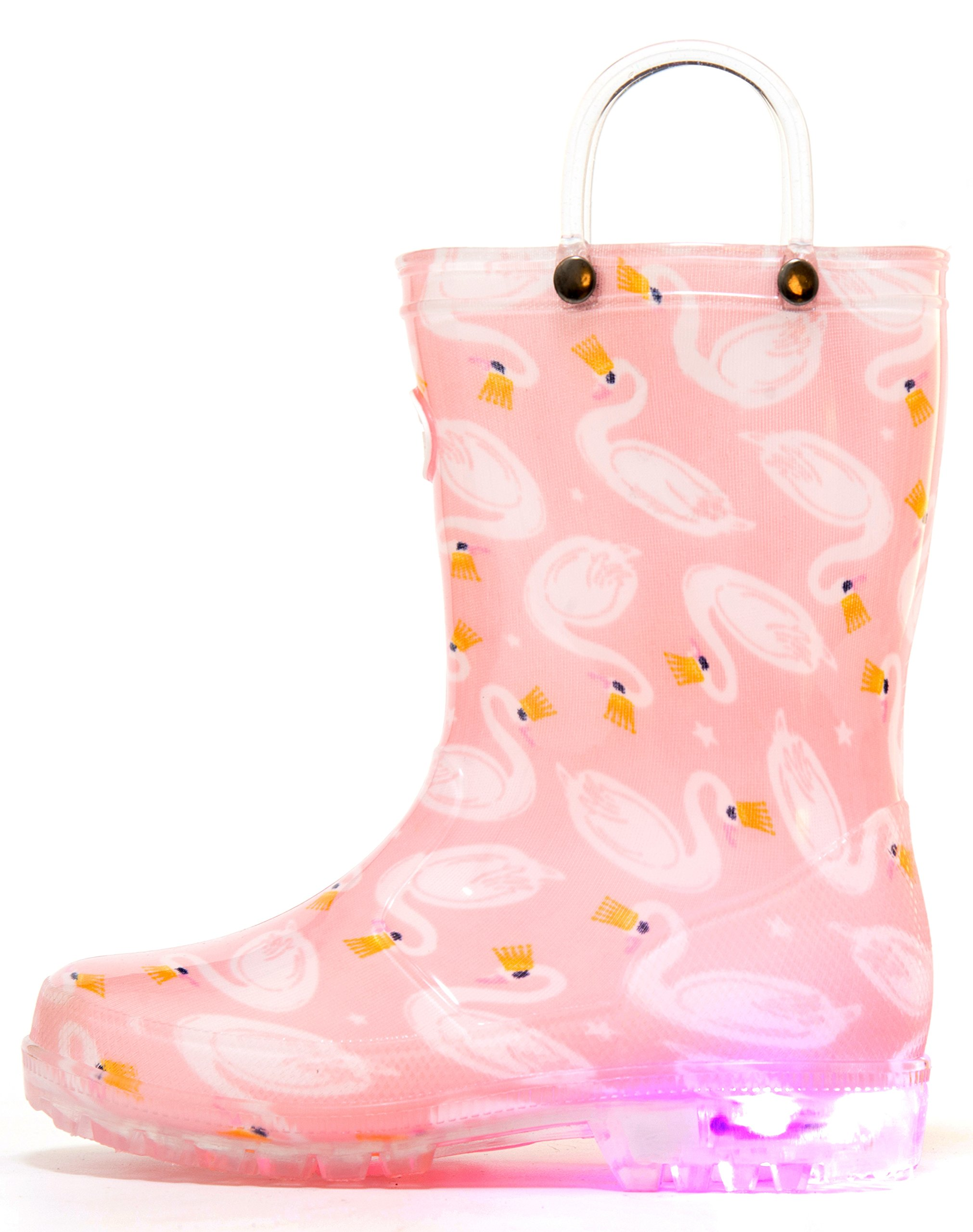 Outee Kids Toddler Girls Rain Boots Waterproof Light Up Lightweight Pink Swan Cute Lovely Funny Print with Easy-On Handles Classic Comfortable (Size 11,Pink)