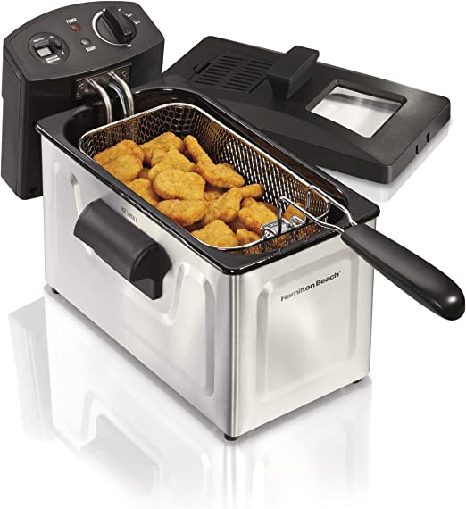Hamilton Beach Deep Fryer, 12 Cups / 3 Liters Oil Capacity, Frying Basket  with Hooks, Lid with View Window, Stainless Steel, Professional Grade, ...
