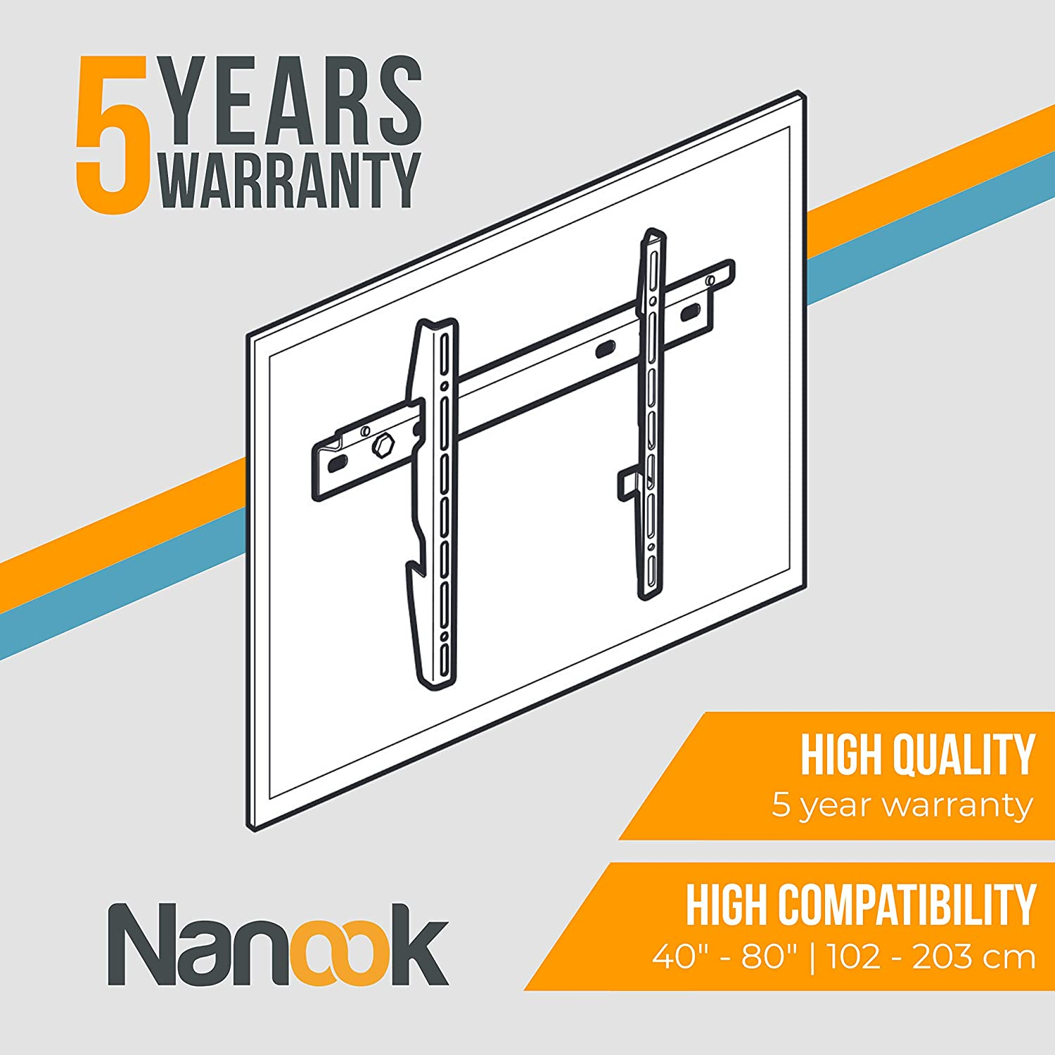 NANOOK TV wall mount for 32-55 inch television LED and OLED televisions Ultra slim bracket Mounting solution for LCD Black VESA 100x100-400x400 Universal compatibility