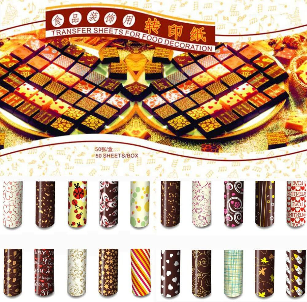 Colorful DIY Chocolate Transfer Sheet Food Decoration Paper (50 pcs/set)