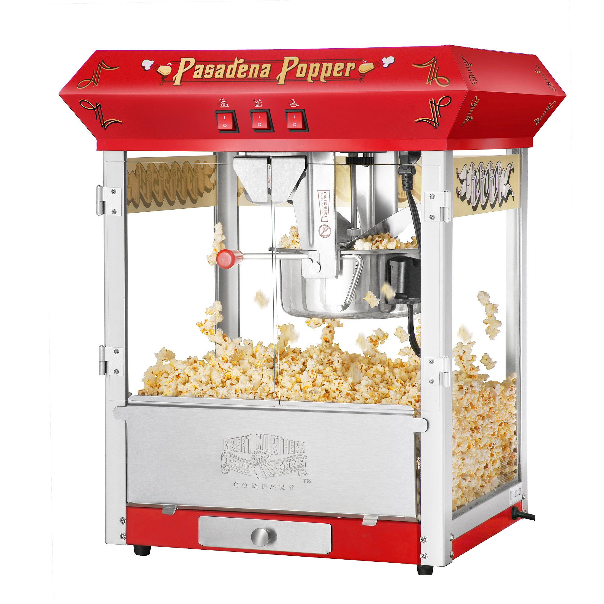 Great Northern Popcorn Red Pasadena 8 Ounce Bar Style Antique Popcorn Machine
