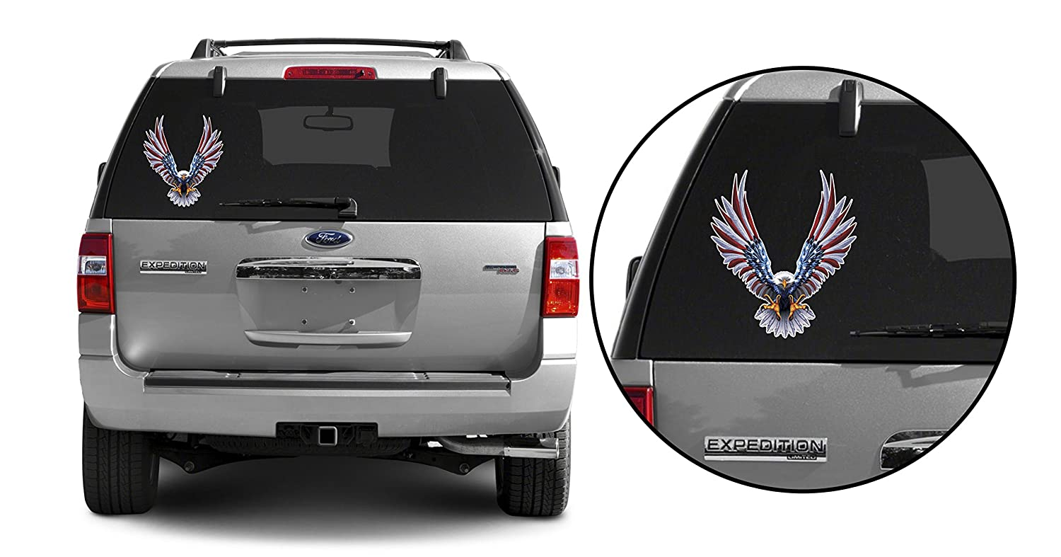 6 x 6.75 Inch American Flag Decal Bald Eagle American Flag Sticker//Decal 1 Pack