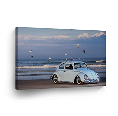 Blue Volkswagen VW Beetle Bug at The Beach with Birds Canvas Print Decorative Vintage Rustic Art Modern Wall Decor Artwork Wood Stretcher Bars – Ready to Hang – 100 Handmade in The USA – 19×28