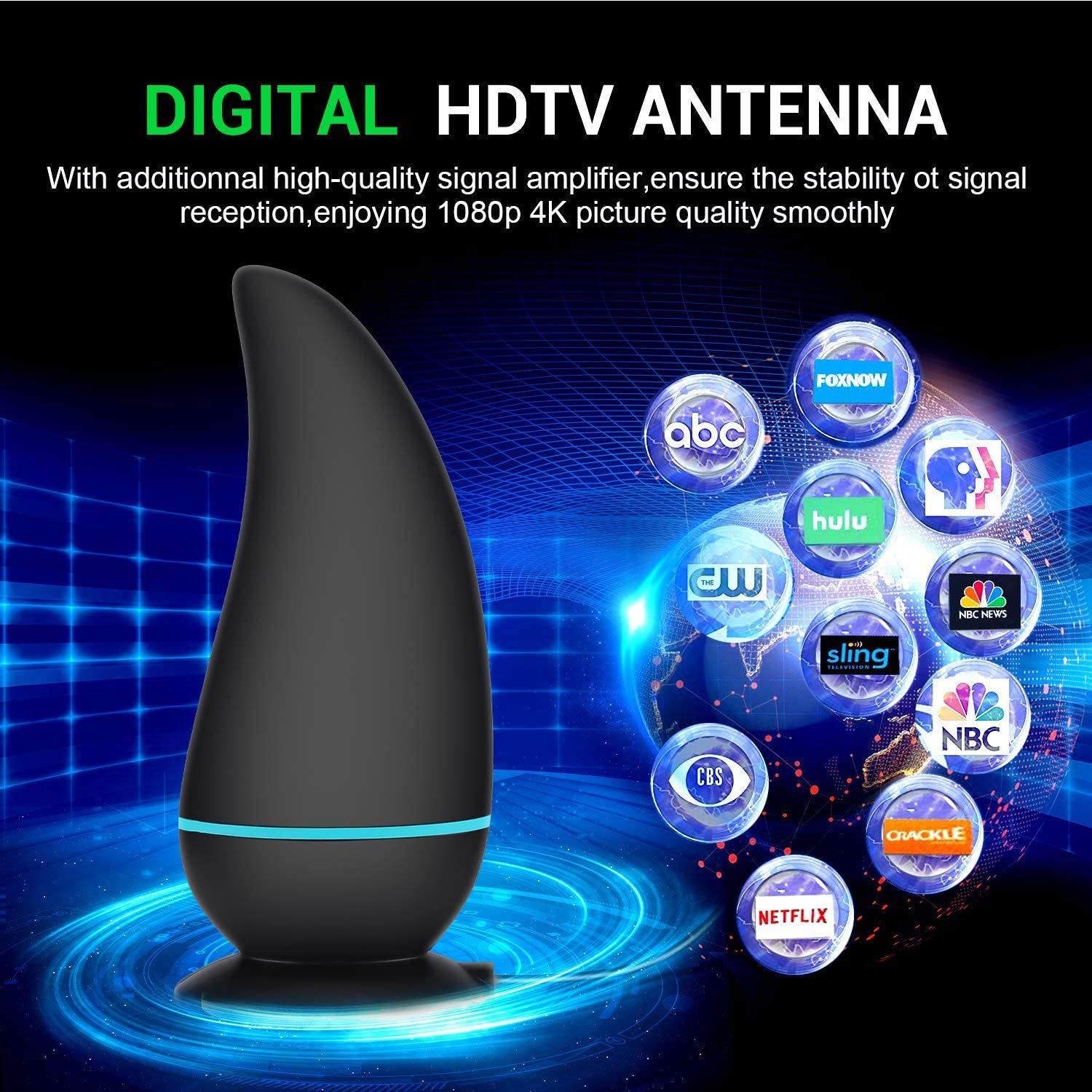 90-140 Miles Range Digital Antenna for HDTV Freeview Life Local Channels HD TV Antenna Support 4K 1080P with Adjustable Amplifier Signal Booster Updated 2020 Best TV Antenna for Digital TV Indoor