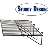 "Grid Panel Display Shelf - Econoco - Clothing Display Rack Grid, Heavy Duty Shelves, 12""D x 23-1/2""L Straight Shelf for Grid Panel, Black Finish, Wire, (Box of 6)"