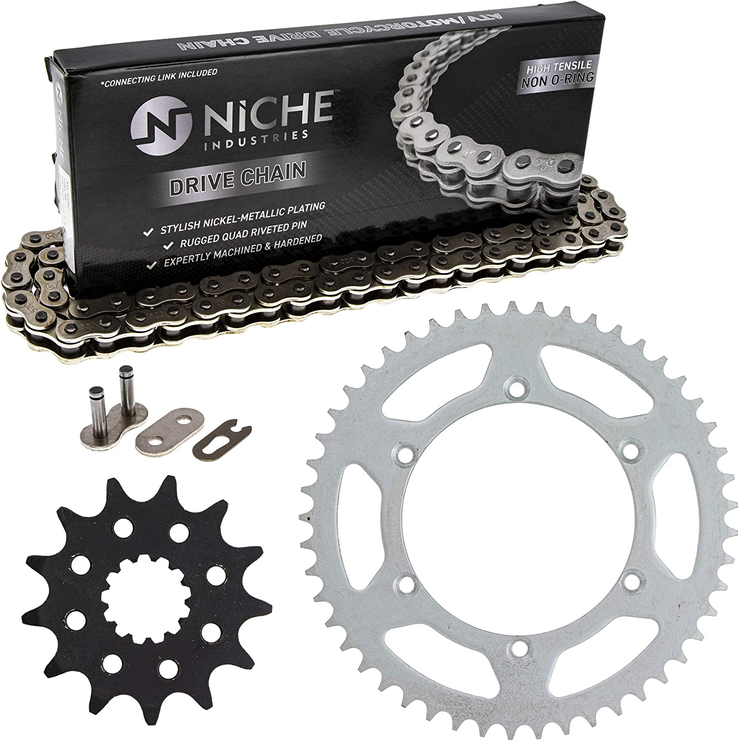 NICHE Drive Sprocket Chain Combo for 2002-2005 Kawasaki KX250 Front 13 Rear 49 Tooth 520V O-Ring 114 Links