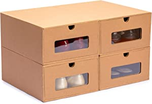 Nicely Neat Stackable Shoe Box Storage Organizer Case with Transparent Window - Women's Size, Set of 4