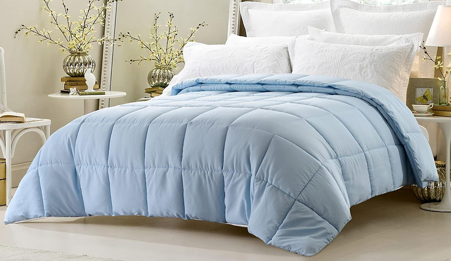 Amazon com web linens inc super oversized down alternative comforter fits pillow top beds king 110 x 96 light blue exclusively by blowout