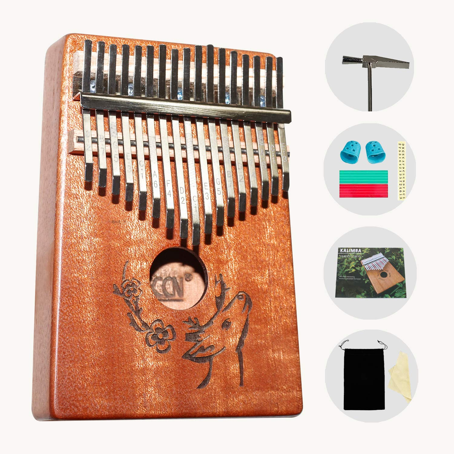 AECCN Kalimba 17 Keys Thumb Piano - Pocket Size With Study Instruction and Tune-Hammer & Simple Sheet Music, Christmas Day Birthday Gifts Idea for Kids Adults Beginners, Professionals (Deer)