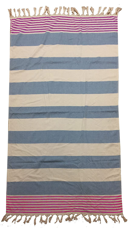 TEXTIL TARRAGO Fouta pestamal 90x170 cm rallas azul/rosa