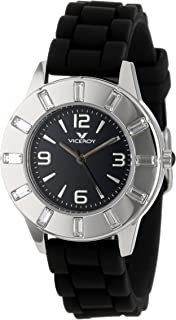 Viceroy Womens 46670-55 Vimar12 Round Stainless Steel Black Dial Crystals Watch