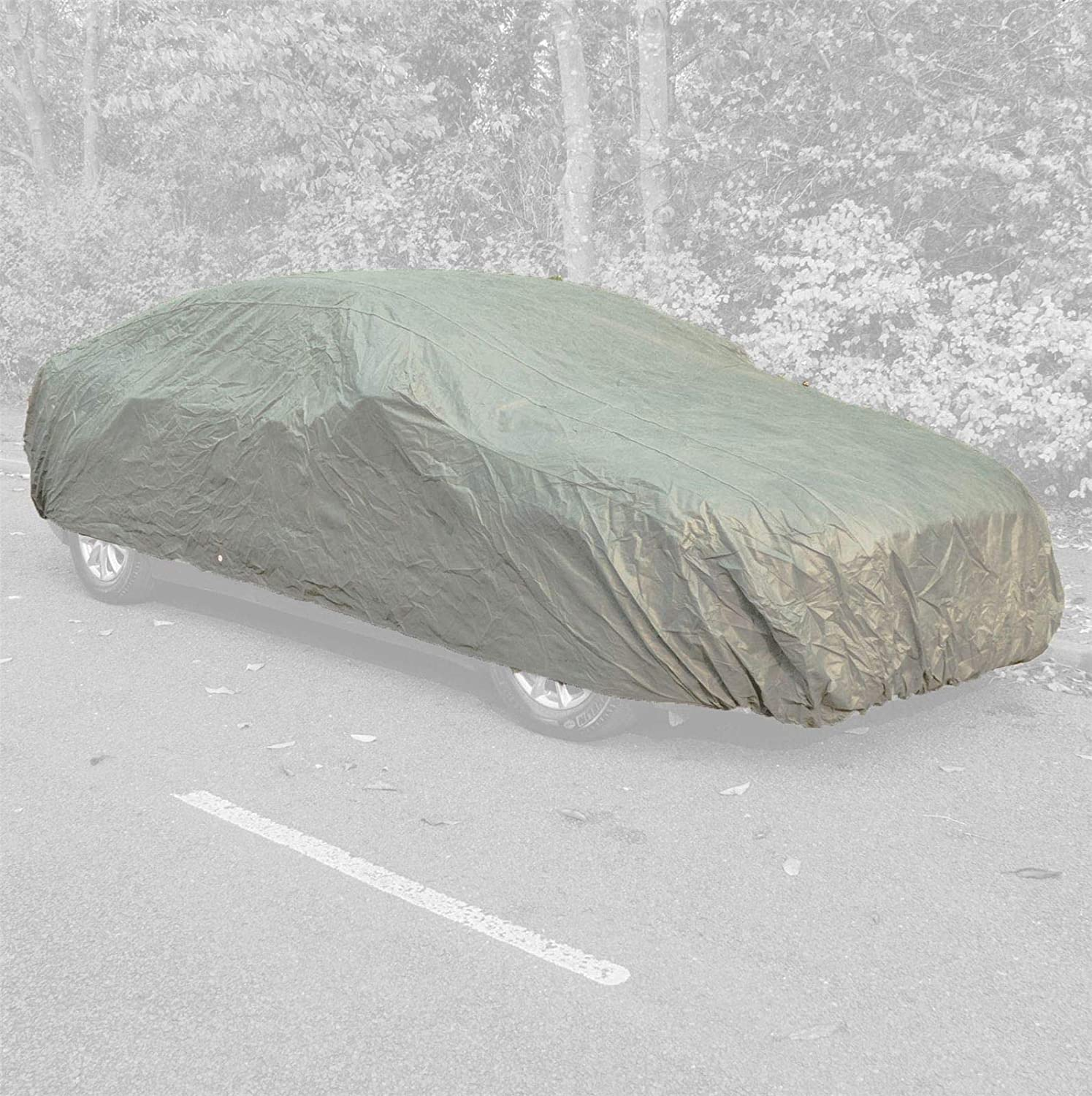 UKB4C Medium Car Cover Water Resistant Breathable Rain UV Sun All Weather Protection for Indoor Outdoor Use