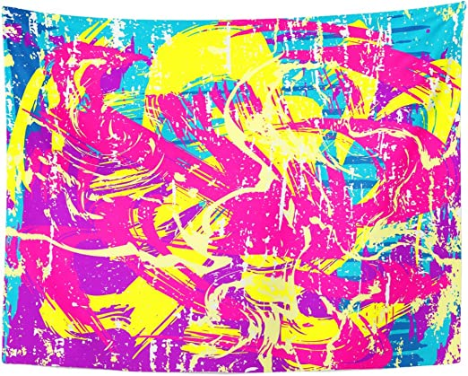 Berrykey Tapestry Blue Alfabeto Psychedelic Colored Graffiti Pattern Green Color Street Home Decor Wall Hanging for Living Room Bedroom Dormisette 60 x 80 Inches: Amazon.es: Juguetes y juegos