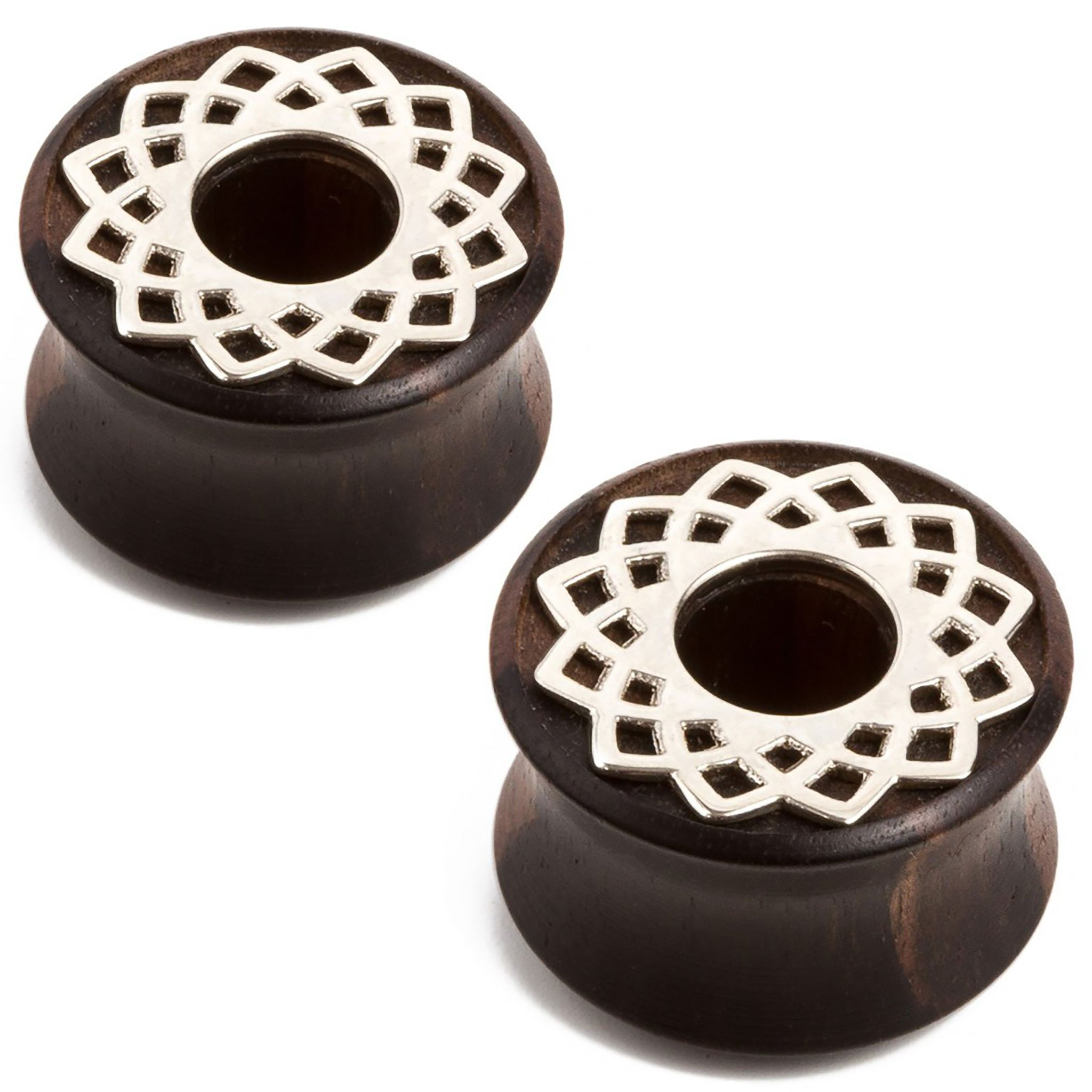 Steel Navel Body Jewelry Pair of Double Flared Ebony Eyelets with White Metal Mandala Inlay: 1-1/2''