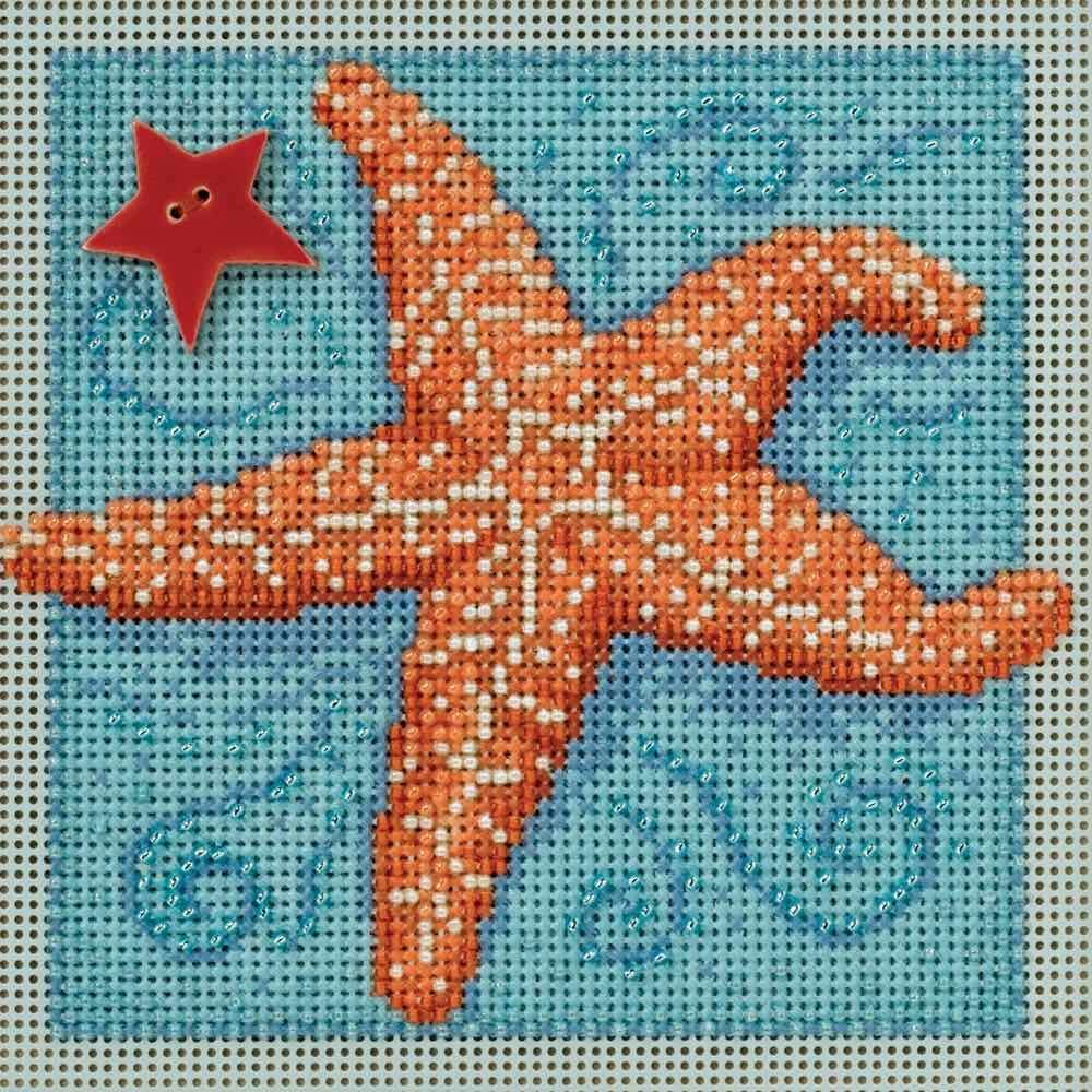 Starfish Beaded Counted Cross Stitch Kit Mill Hill 2016 Buttons & Beads Spring MH141615