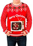 Festified Men's Retro TV Set iPad Tablet Ugly Christmas Sweater in Red