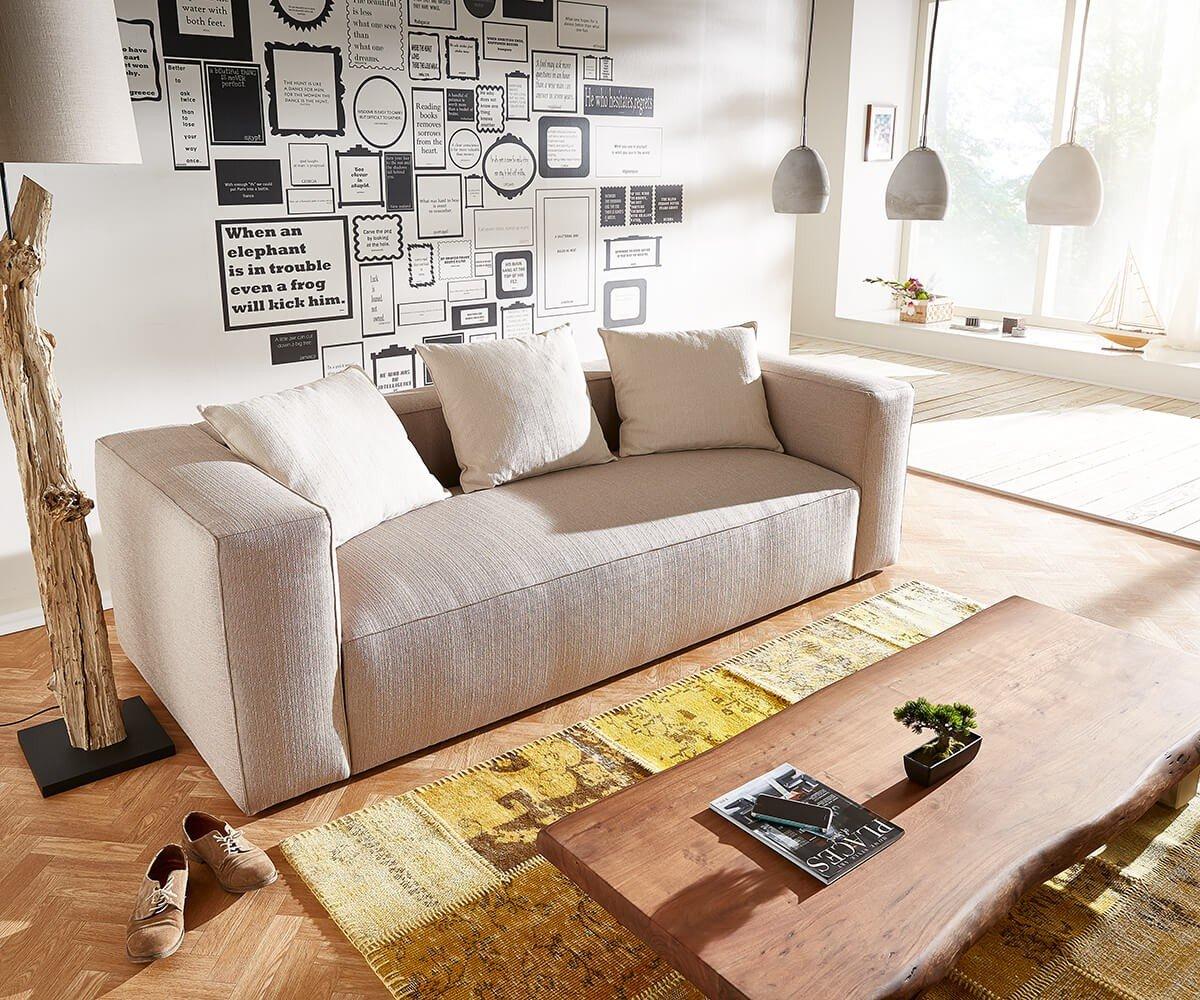 Sofa Oceana Beige 245x102 cm Kubisch inklusive Kissen 3-Sitzer