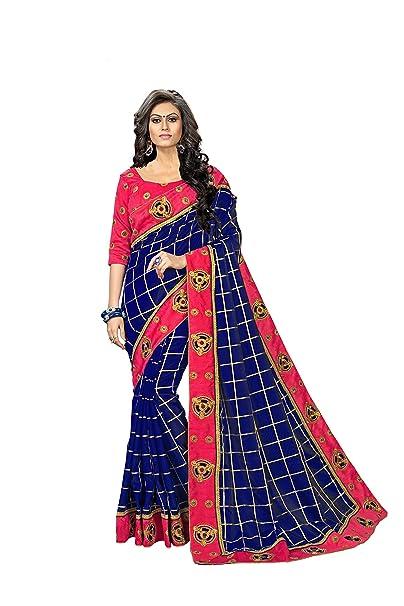 5213cb00bd60bd Sretan Women s Paper Silk Saree With Blouse Piece (A Blue)  Amazon.in   Clothing   Accessories