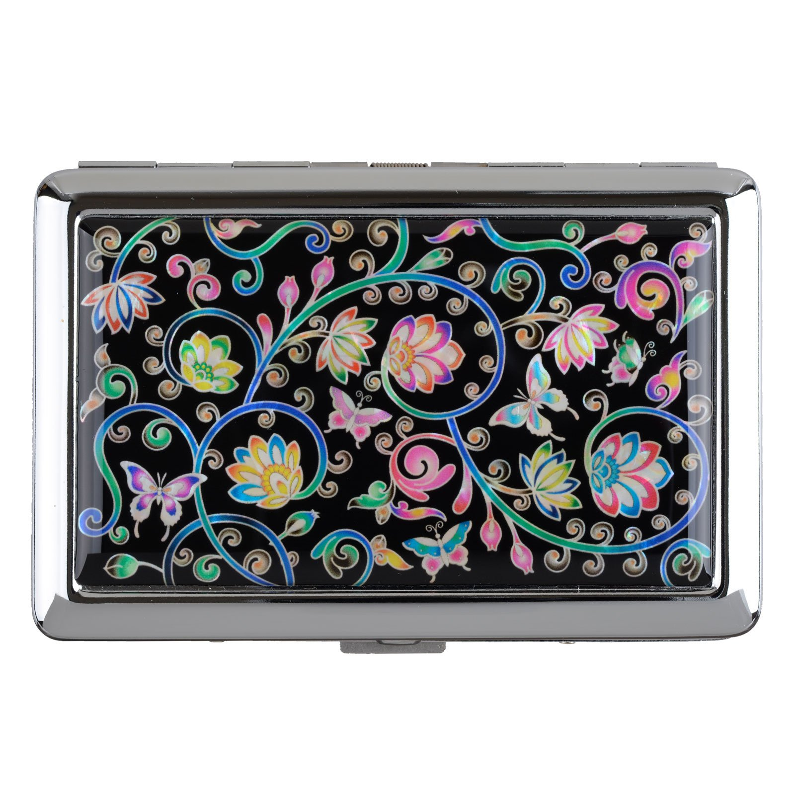 Cigarettes Box Storage Case Box Tobacco 100s Cigar Container Holder Mother of Pearl (Vine Flower)