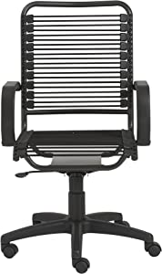 Eurø Style Bradley Bungie Office Chair, L: 27 W: 23 H: 37.5-43 SH: 17.5-23, Black