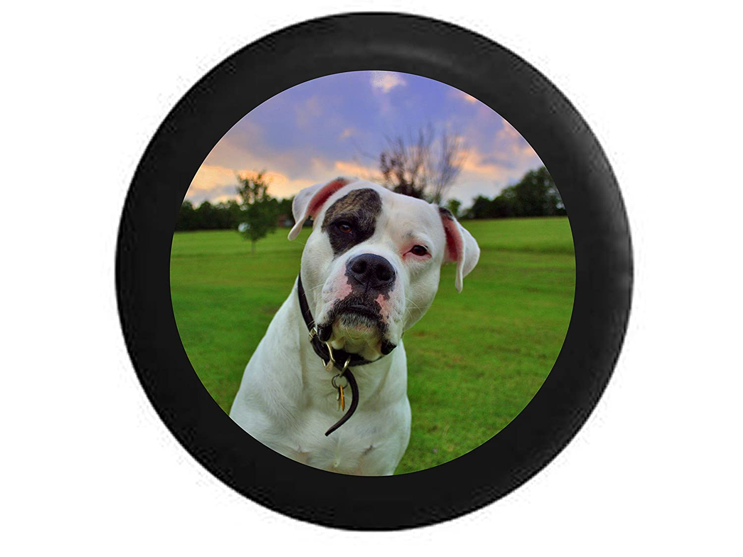 Full Color White Spotted Dog Pitbull Bulldog Bully Breed Lab Mutt Spare Tire Cover Black 33 in Pike Outdoors