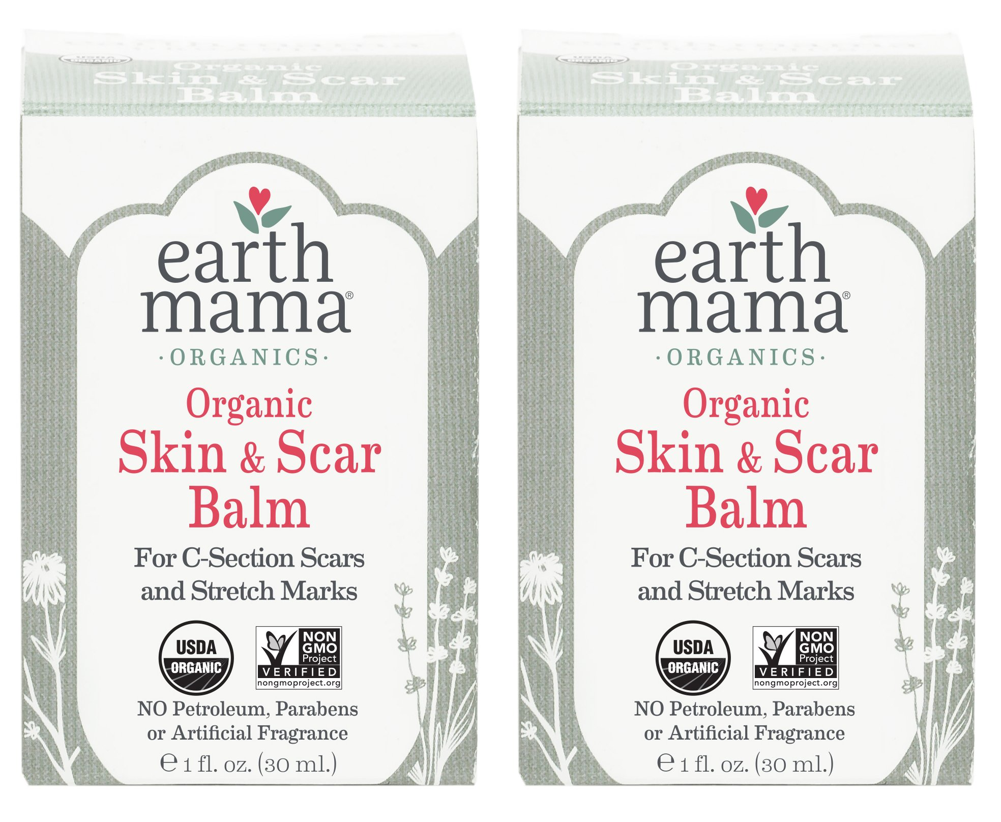 Earth Mama Organic Skin & Scar Balm for C-Section Scars and Stretch Marks, 1-Fluid Ounce (2-Pack)