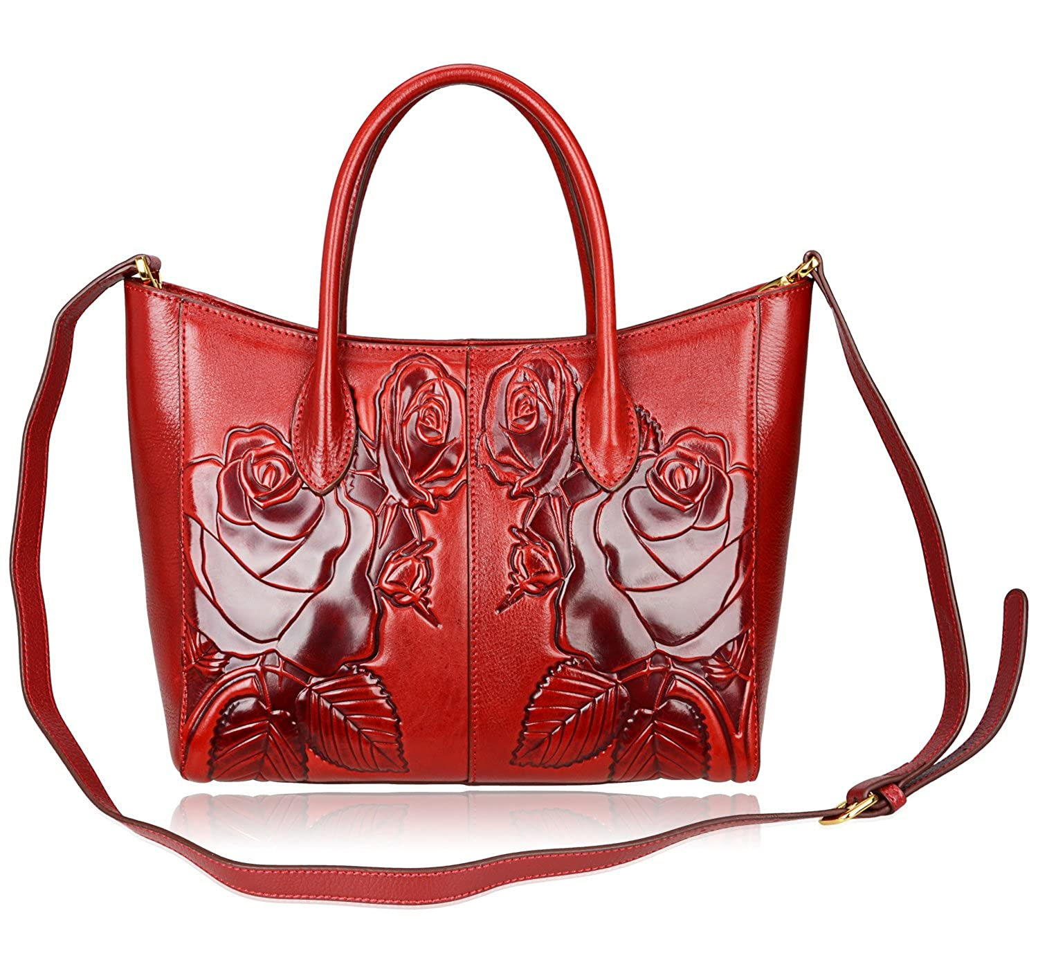 6053b3da7f PIJUSHI Floral Purses Designer Leather Handbags Shoulder Bags For Women  (65307 Red)  Handbags  Amazon.com