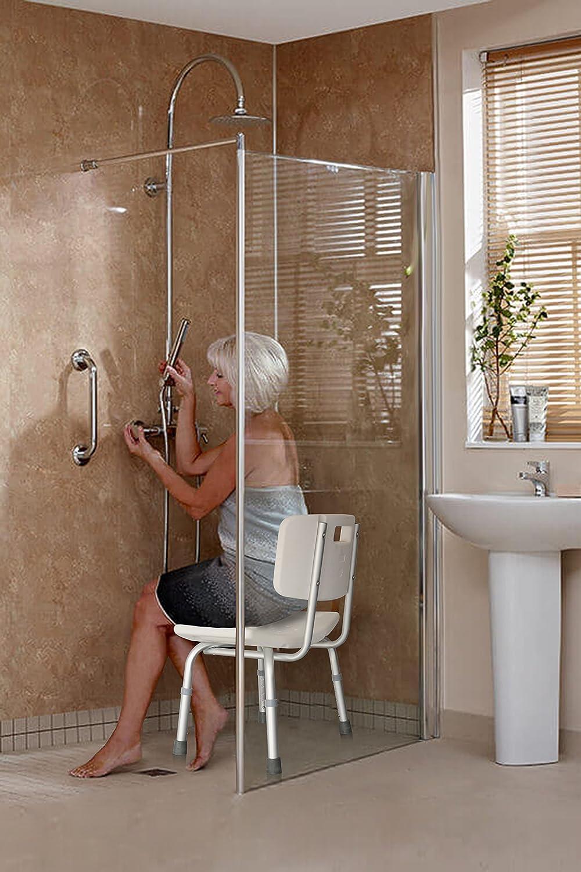 Amazon.com: Aluminum Bath Bench - Shower Chair With Handle - Stool ...