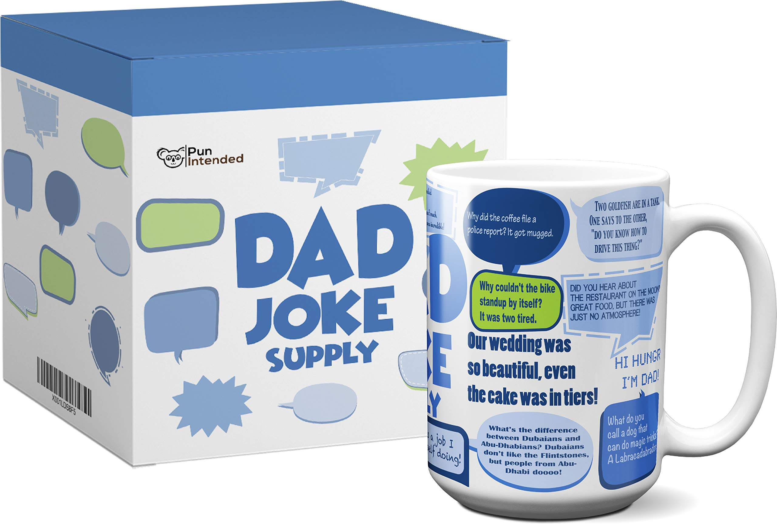 Funny Coffee Mug | Dad Joke Supply | 15 Oz with Beautiful Gift Box | Best as Gift for Father's Day, Birthdays, Christmas, from Daughter, Son, or Wife. Novelty, Porcelain