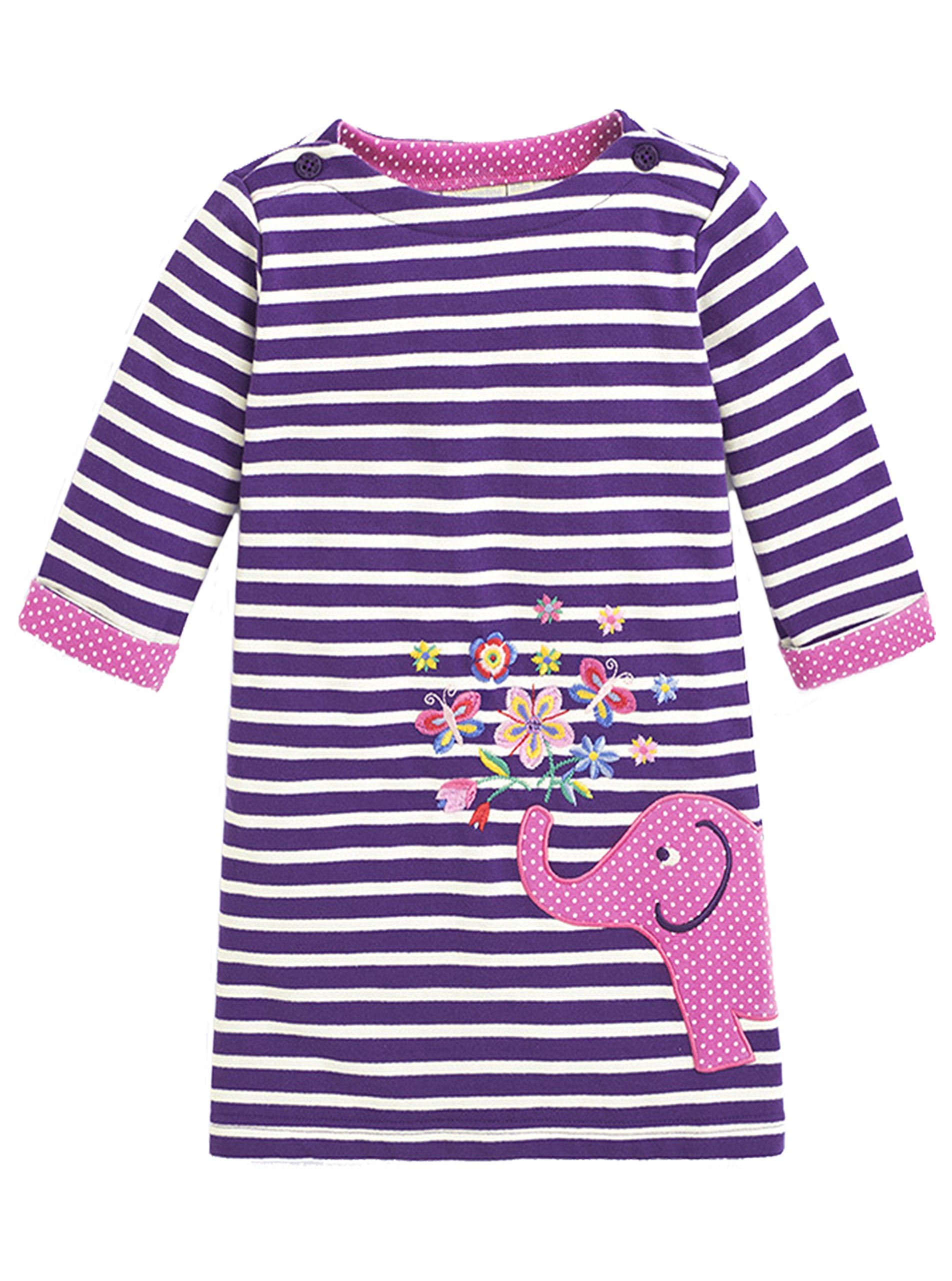 Kids Girls Dress Long Sleeve Cute Cartoon Pattern Princess Dress Purple Stripes 3T