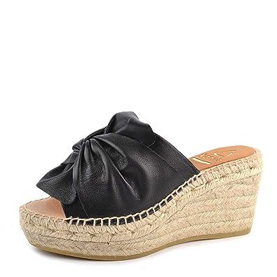 Kanna Capri Schwarz Leder Keil Espadrille Sandale