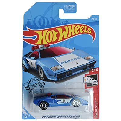 Hot Wheels Rescue Series 2/10 Lamborghini Countach Police Car 142/250, Blue: Toys & Games [5Bkhe1002449]