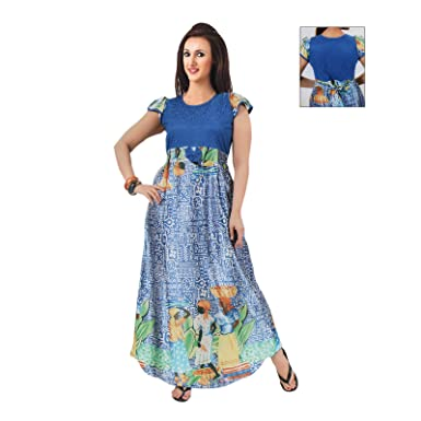 f8d80cc6991e The Orange Tags Elegant Ladies Long Nightie Womens Belted Nightdress Gown  Full Length 8-14-Blue-L (6-12)  Amazon.co.uk  Clothing