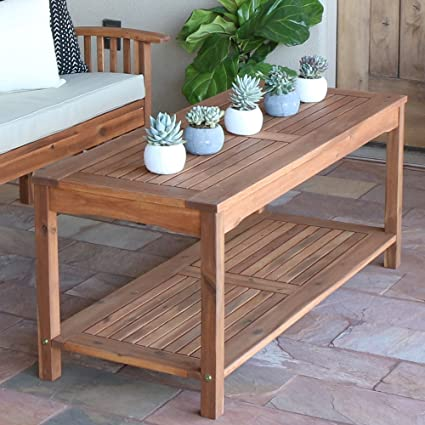 Delicieux Walker Edison Furniture Company Solid Acacia Wood Patio Coffee Table   Brown