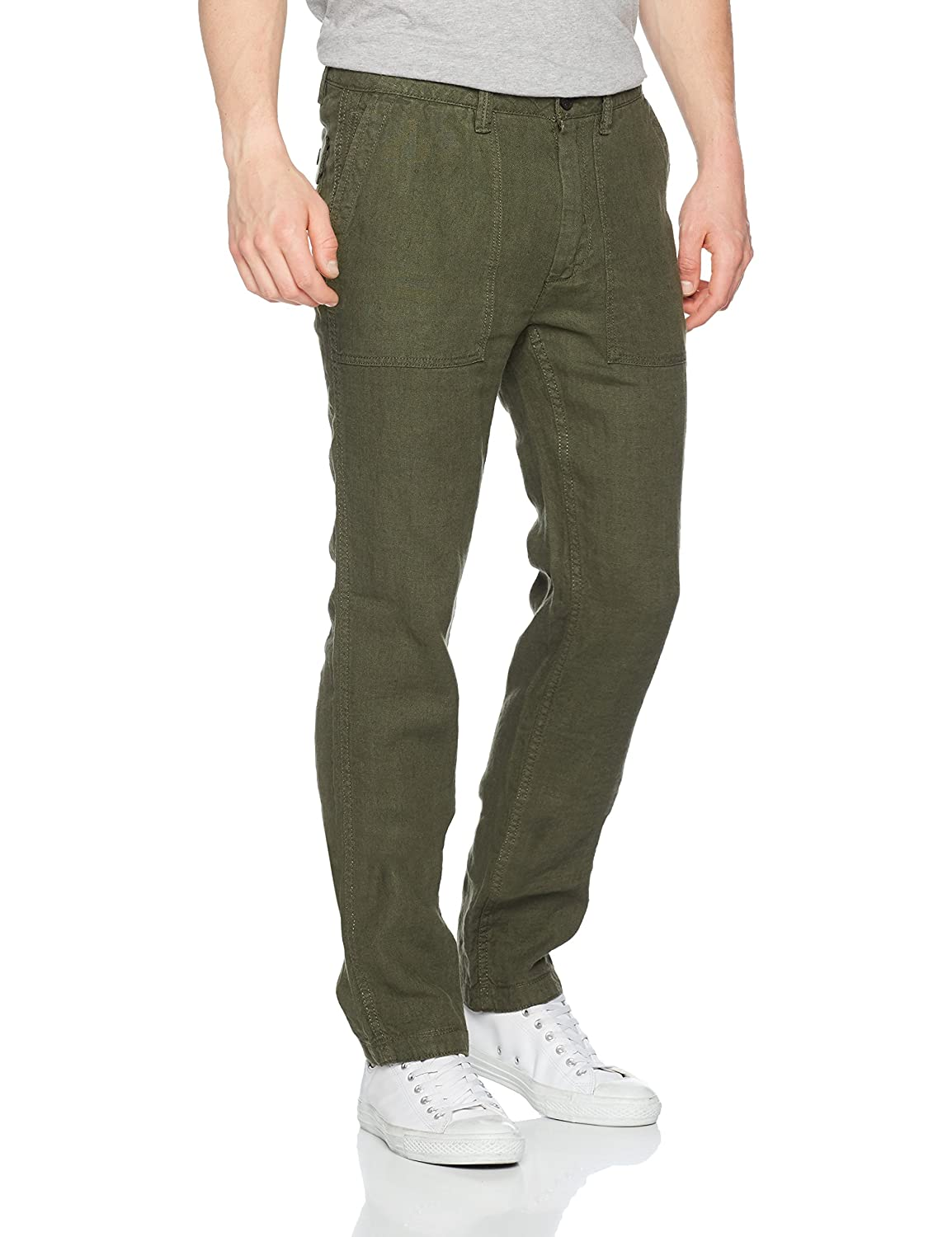 100% satisfaction guarantee top-rated professional numerous in variety Fat Face Men's Linen Worker Trousers, Green (Khaki), W34/L32 ...