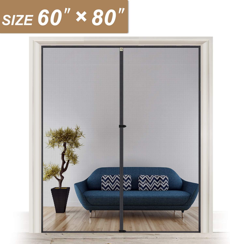 Pantalla magnética de 62 x 81, malla para puerta con imanes, apto para puertas de hasta 60 pulgadas de ancho x 80 pulgadas de alto, malla de fibra de vidrio para mosquitera: